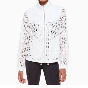 Kate Spade white nylon & eyelet zip jacket